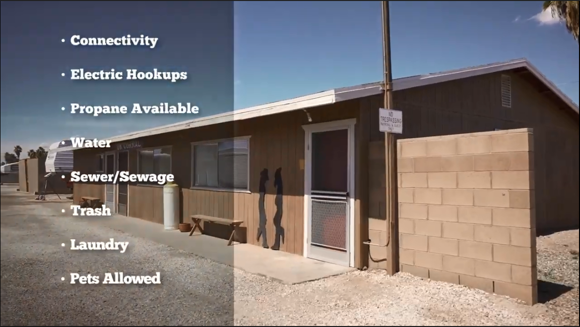 The front of a single story building and a superimposed bulleted list of amenities including connectivity, electric hookups, propane available, water, sewer / sewage, trash, laundry, and pets allowed.
