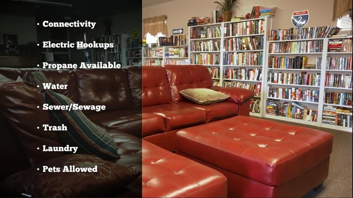 A couch in front of a wall of book cases filled with books and a superimposed bulleted list of amenities including connectivity, electric hookups, propane available, water, sewer / sewage, trash, laundry, and pets allowed.