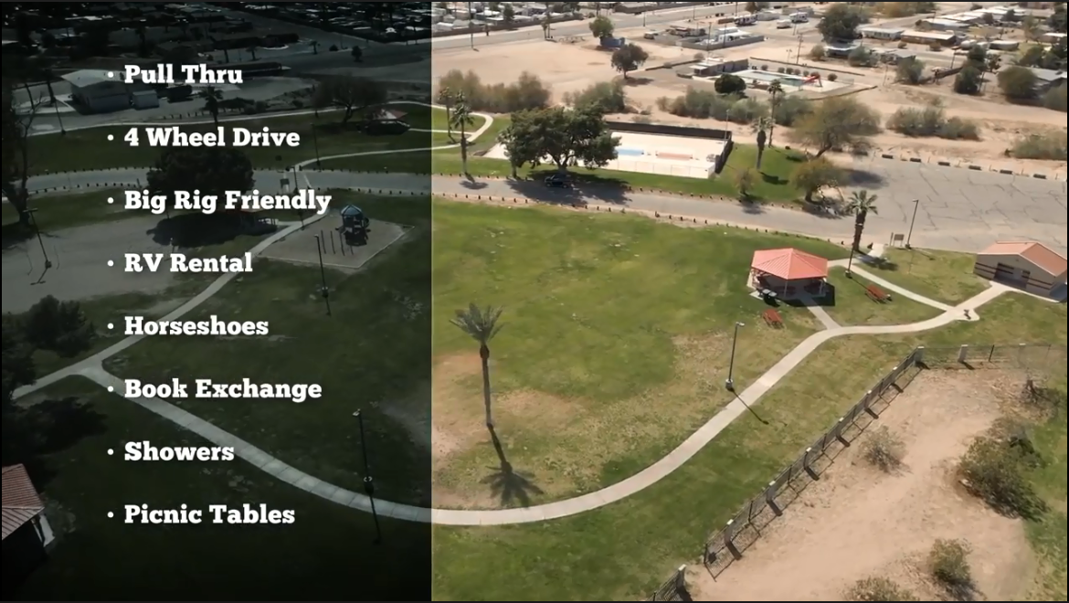 Aerial photograph of park area and a superimposed bulleted list of amenities including pull through, 4 wheel drive, big rig friendly, RV rental, horseshoes, book exchange, showers, picnic tables.