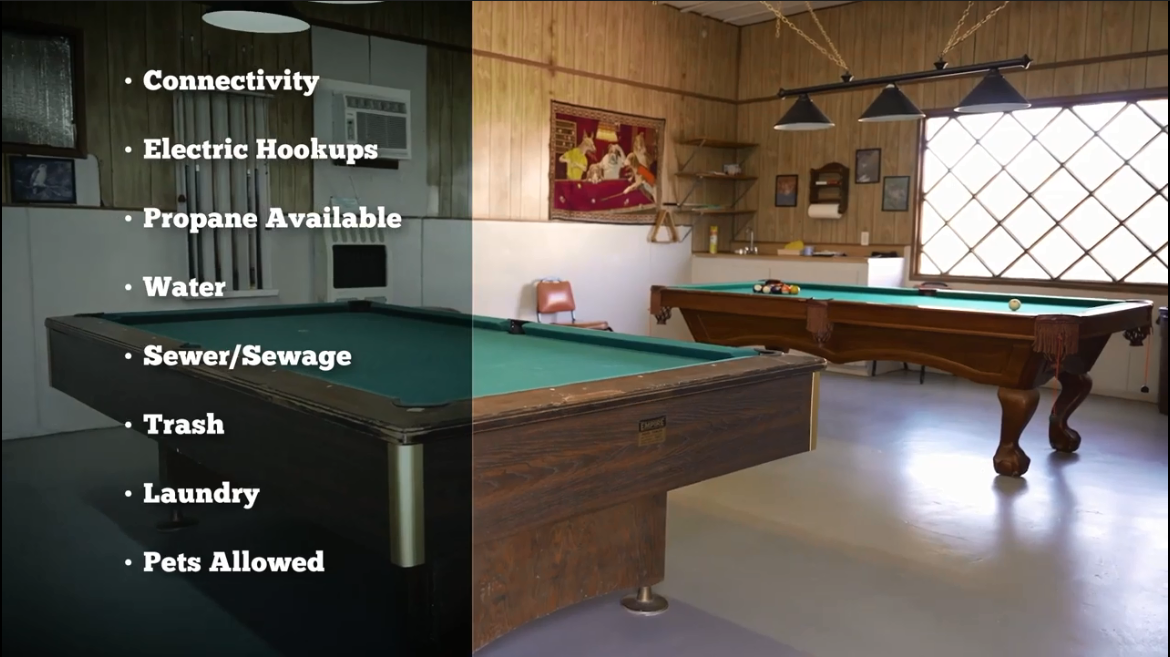 A room with two pool tables and a superimposed bulleted list of amenities including connectivity, electric hookups, propane available, water, sewer / sewage, trash, laundry, and pets allowed.