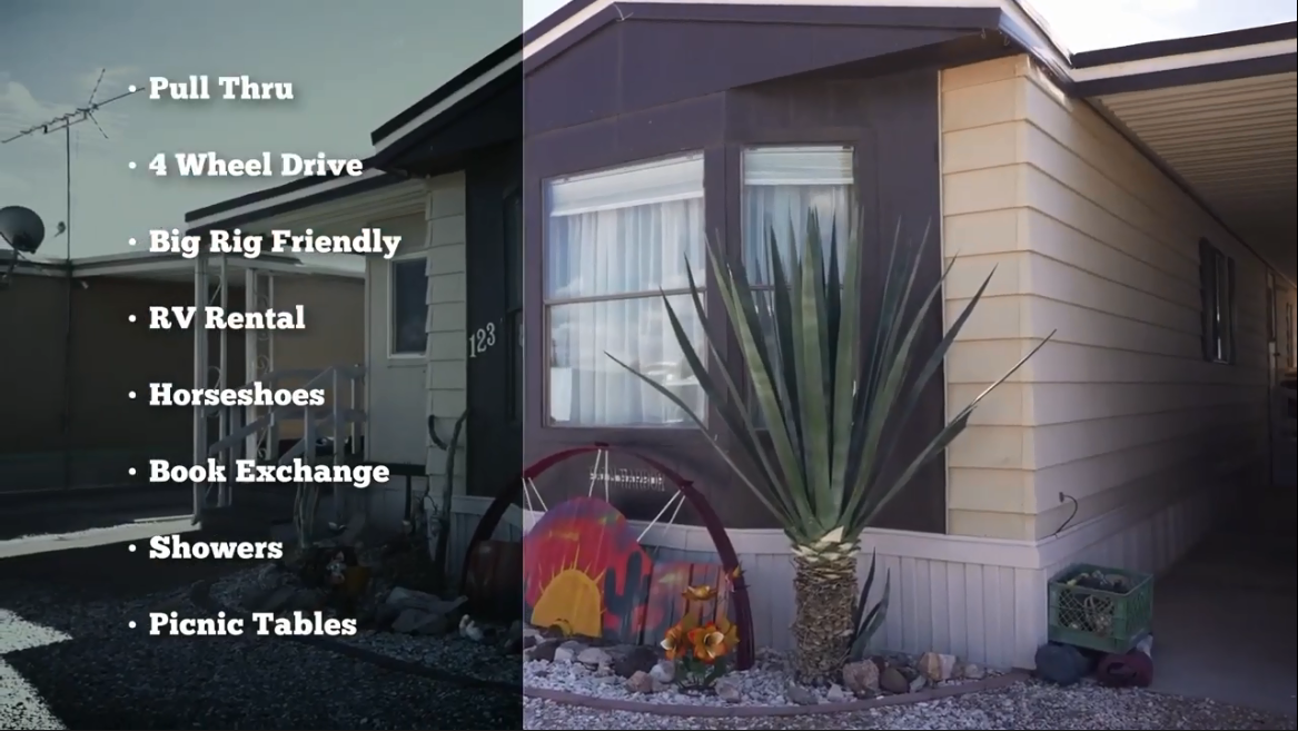 Mobile home and a superimposed bulleted list of amenities including pull through, 4 wheel drive, big rig friendly, RV rental, horseshoes, book exchange, showers, picnic tables.