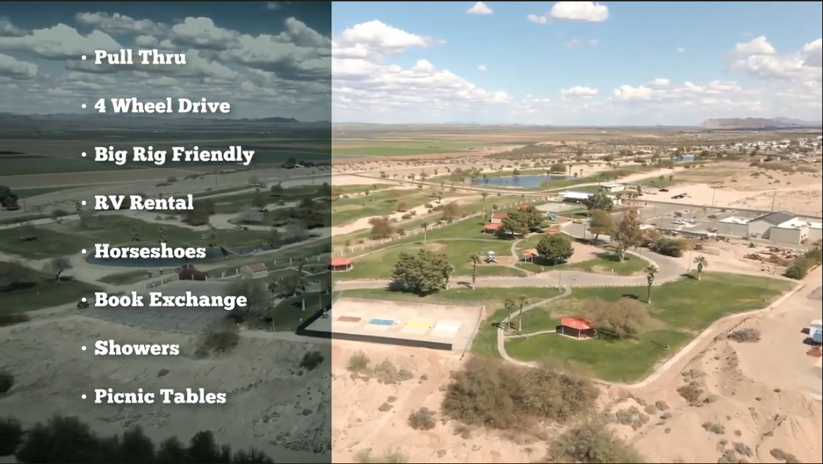 Second aerial photograph and a superimposed bulleted list of amenities including pull through, 4 wheel drive, big rig friendly, RV rental, horseshoes, book exchange, showers, picnic tables.